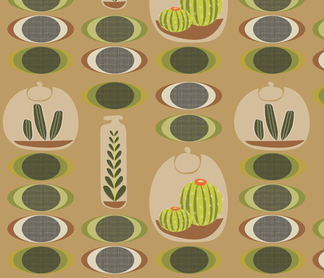 Cactus Terrariums fabric by vanillabeandesigns on Spoonflower - custom fabric