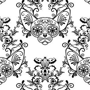 Sugar Skull Sphynx Cat Damask White