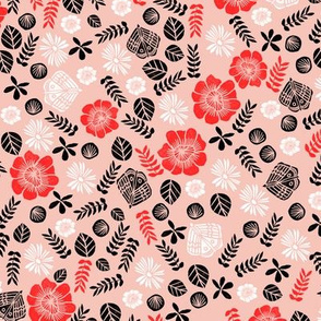 Scattered Butterfly Garden - Pale pink/Cardinal Red/Black/White by Andrea Lauren
