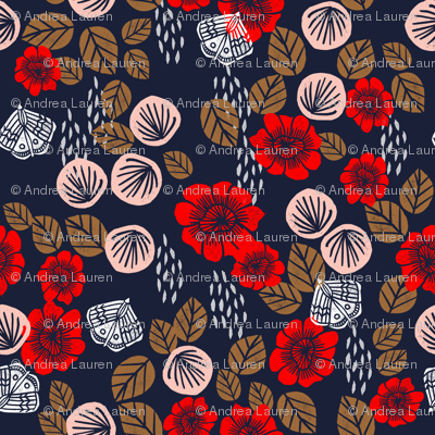 Butterfly Garden - Cardinal Red/Pale Pink/Imperial Blue/Wood Brown/White by Andrea Lauren