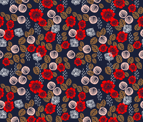 Butterfly Garden - Cardinal Red/Pale Pink/Imperial Blue/Wood Brown/White by Andrea Lauren fabric by andrea_lauren on Spoonflower - custom fabric