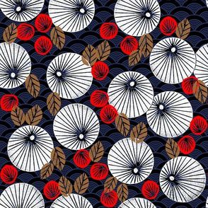 Parasol Garden - Cardinal Red/Wood Brown/Imperial Blue/White by Andrea Lauren