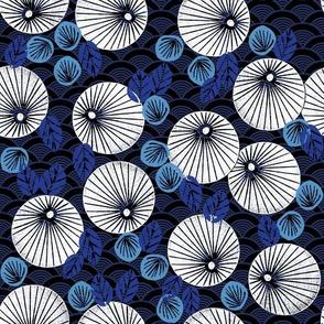 Parasol Garden - Imperial Blue/Cerulean/Cobalt Blue by Andrea Lauren