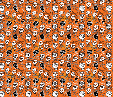 Skulls (orange) fabric by edward_elementary on Spoonflower - custom fabric