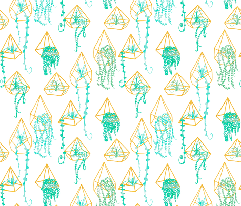 Golden Mint Watercolor Terrarium fabric by emilysanford on Spoonflower - custom fabric