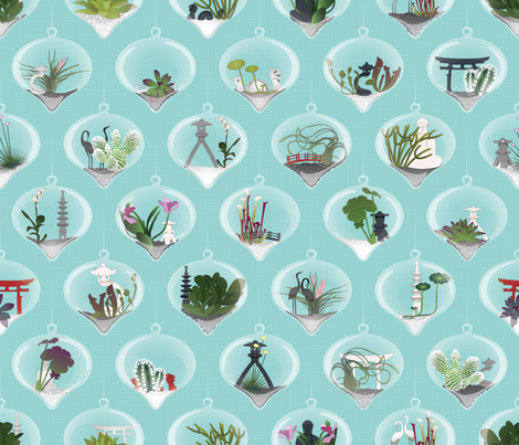 Julie's Hanging Terrariums fabric by juliesfabrics on Spoonflower - custom fabric
