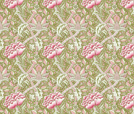 William Morris Windrush Green Pink fabric by chantal_pare on Spoonflower - custom fabric