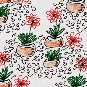 A Doodle of Flowers and Squiggles