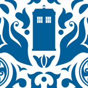 Police Box Damask Blue on White - large