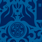 Police Box Damask Dark Blue on Blue - large