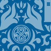 Police Box Damask Light Blue on Blue - large