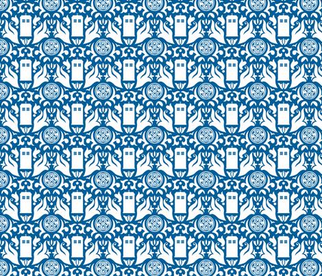 Police Box Damask White on Blue - large fabric by designedbygeeks on Spoonflower - custom fabric