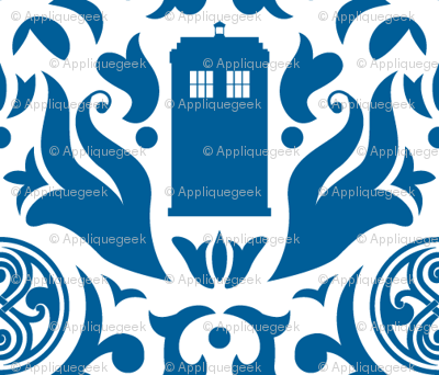 Police Box Damask Blue on White - small