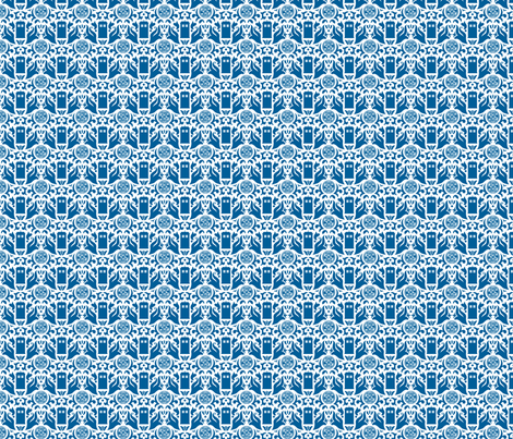 Police Box Damask Blue on White - small fabric by designedbygeeks on Spoonflower - custom fabric