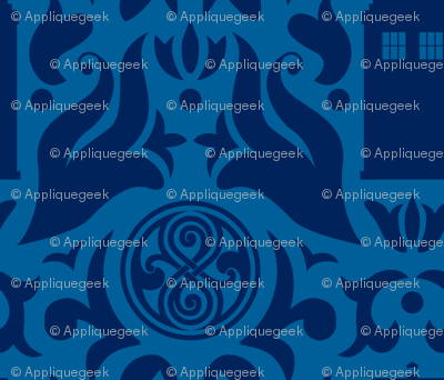 Police Box Damask Dark Blue on White - small