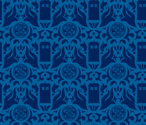 Police Box Damask Dark Blue on White - small fabric by designedbygeeks on Spoonflower - custom fabric