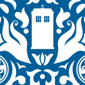 Police Box Damask White on Blue - small