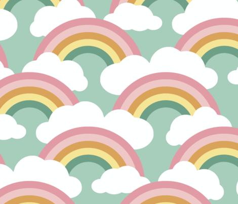 spring rainbow scallop - blue sky fabric by weavingmajor on Spoonflower - custom fabric