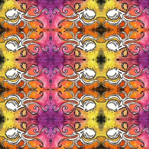 Purple Yellow Pink Orange Octopus