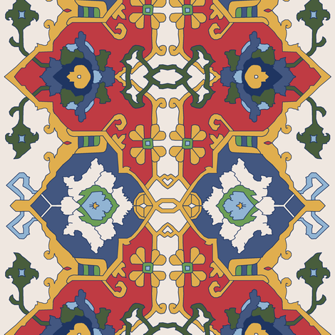 16th Century Floral Border Color Request VI. fabric by pond_ripple on Spoonflower - custom fabric
