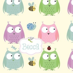 Owl Friends -Pink mint Text PERSONALIZED Becca