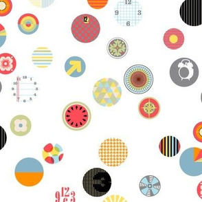 Faces in the Crowd || geometric circles typography graphic bubbles scatter polka dots swatch watch faces time 80s
