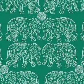 small henna elephant in teal
