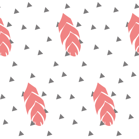 Coral Feather Triangles fabric by ajoyfulriot on Spoonflower - custom fabric
