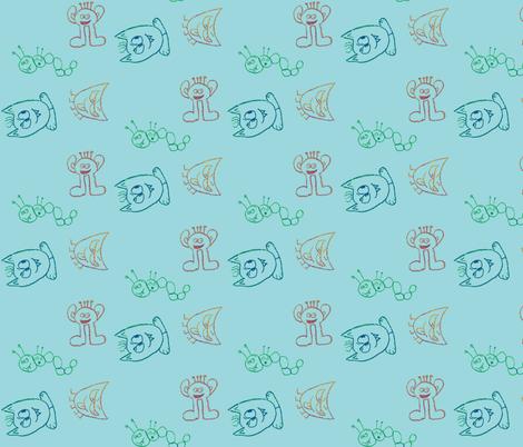 monster toss fabric by remnantsdesignstudio on Spoonflower - custom fabric