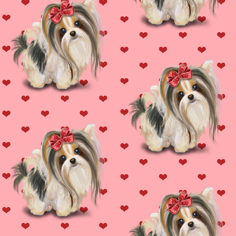Biewer/Parti/Yorkie Pink and hearts M fabric by catialee on Spoonflower - custom fabric