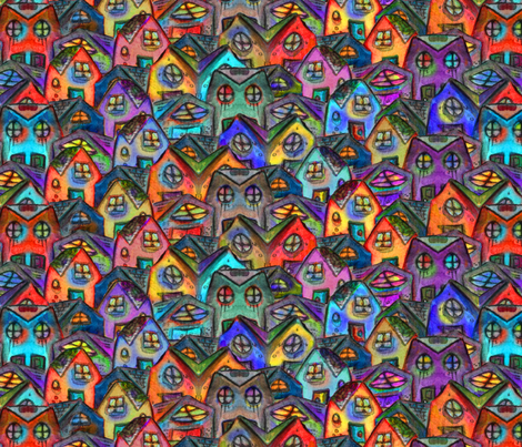 Artwork - Houses fabric by lierre on Spoonflower - custom fabric