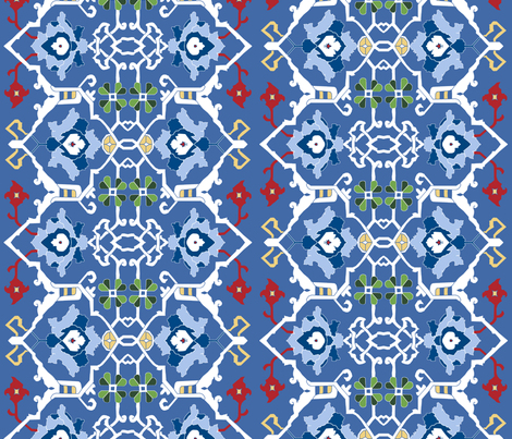 Final Custom 16th Century Floral Border  fabric by pond_ripple on Spoonflower - custom fabric