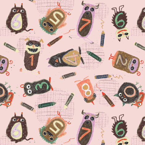 Schoolmonsters pink fabric by sanneteloo on Spoonflower - custom fabric