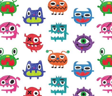 Crayon Crazy Monsters fabric by andibird on Spoonflower - custom fabric