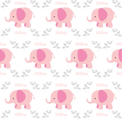 Elephants in A Row MED6- Pink/Gray leaves  personalized-pink text  WILLOW