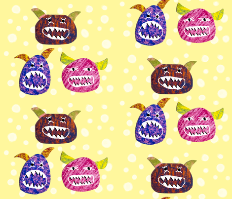 hungry monsters fabric by something_light on Spoonflower - custom fabric