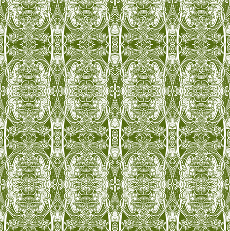 The Old Fashioned Victorian Way (green) fabric by edsel2084 on Spoonflower - custom fabric