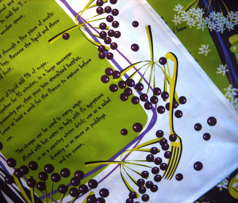 Elderberry Vinegar - recipe tea towel
