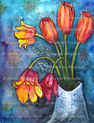 Watercolor Tulips 1