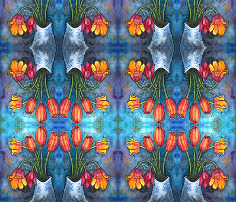 Watercolor Tulips 1 fabric by jenithea on Spoonflower - custom fabric