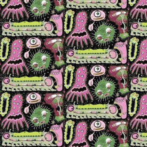 Cosmic Cooties, small scale, half drop, black pink green lime