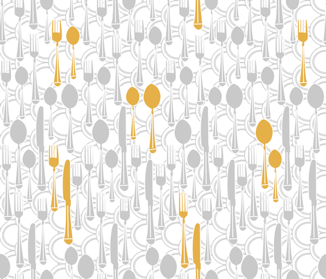 Kitchen utensils (silver and gold) fabric by les_motifs_de_sarah on Spoonflower - custom fabric