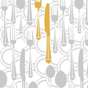Kitchen utensils (silver and gold)