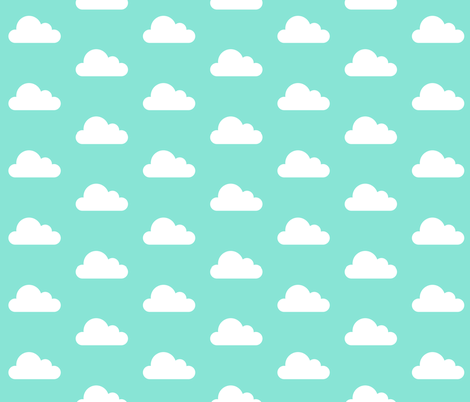 Teal Clouds fabric by levicp11 on Spoonflower - custom fabric