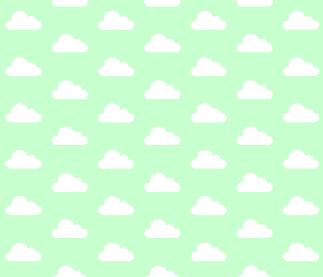 Mint Green Clouds fabric by levicp11 on Spoonflower - custom fabric