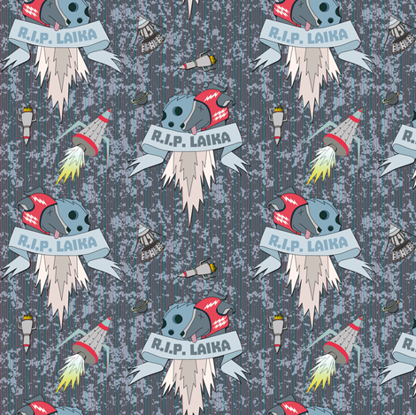 Laika on grey red stripes fabric by susiprint on Spoonflower - custom fabric