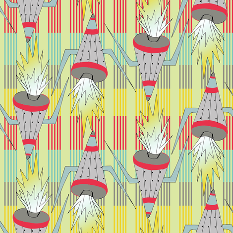 rockets on stripes fabric by susiprint on Spoonflower - custom fabric