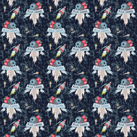 Blue Laika small size fabric by susiprint on Spoonflower - custom fabric