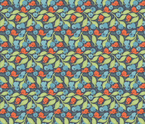 Blueberry Hill Tweets Navy fabric by sheri_mcculley on Spoonflower - custom fabric