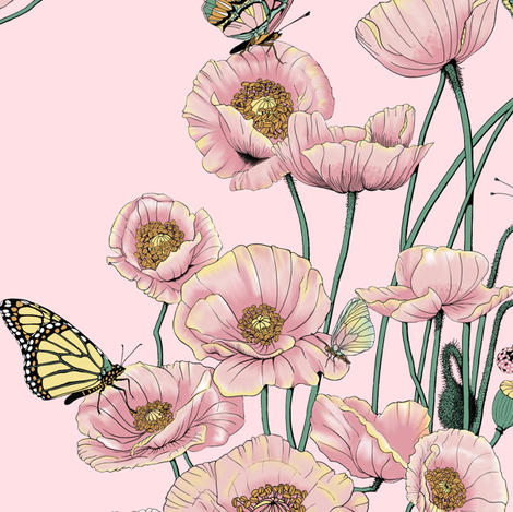 Poppies_and_Butterflies_Pastel_on_Dk_pink_bg fabric by house_of_heasman on Spoonflower - custom fabric